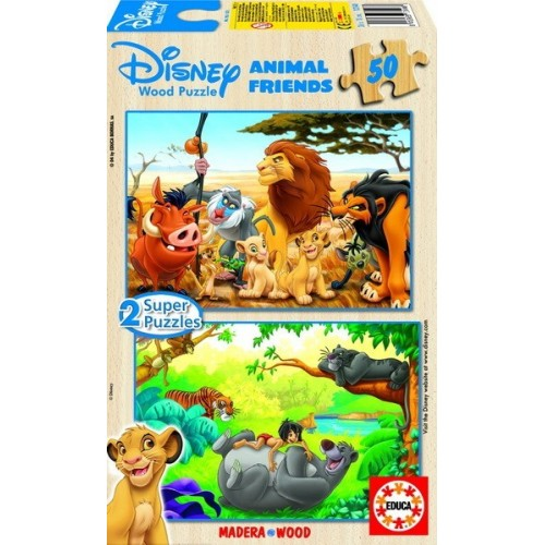 Lion King - Jungle Book, Educa wooden puzzle 2x50 pc