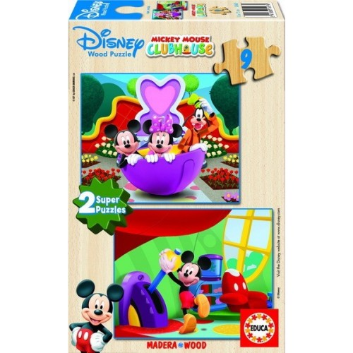 MICKEY MOUSE CLUB HOUSE, Educa wooden puzzle 2x9 pc