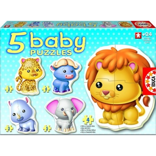 WILD ANIMALS, Educa Baby Puzzle 3-4-5 pc