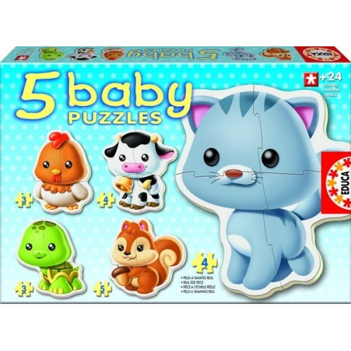ANIMALS, Educa Baby Puzzle 3-4-5 pc