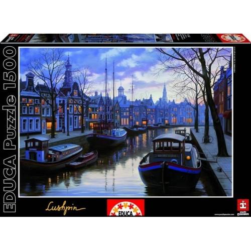 Amsterdam In The Evening - Eugene Lushpin, Educa Puzzle 1500 pcs