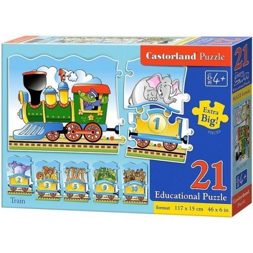 Vonat - Maxi puzzle, Castorland számolós puzzle 21 drabos