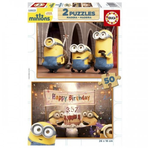 Minions, Educa wooden puzzle 2x50 pc
