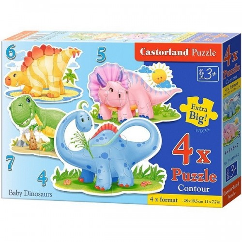 BABY DINOSAURS, Castorland 4x1 Puzzle 4-5-6-7pc