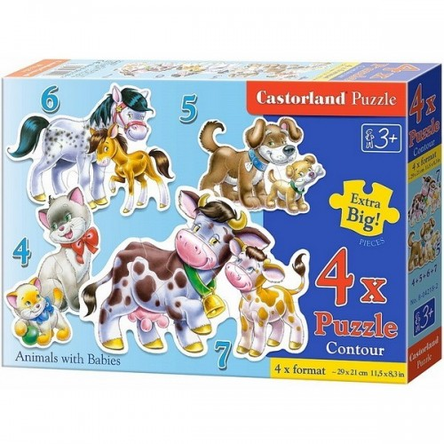 ANIMALS WITH BABIES, Castorland 4x1 Puzzle 4-5-6-7pc
