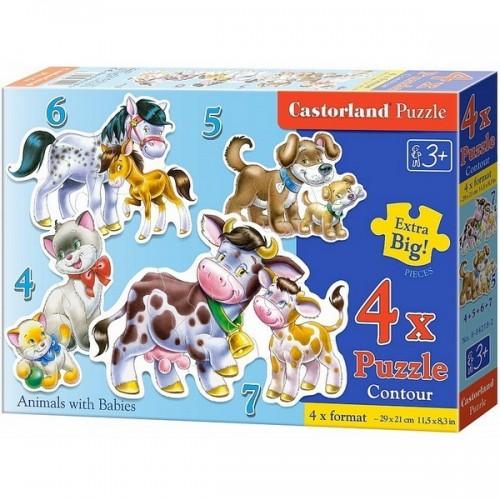 Háziállatok csemetéjükkel, Castorland 4x1 puzzle 4-5-6-7db