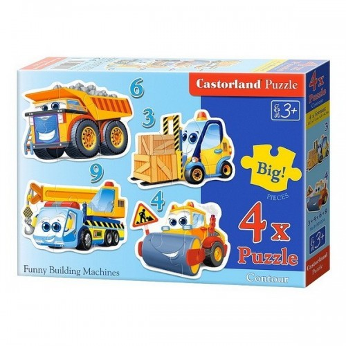 FUNNY BUILDING MACHINES, Castorland 4x1 Puzzle  3-4-6-9pc