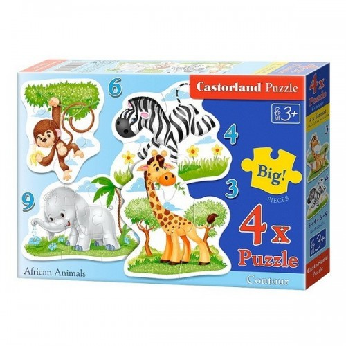 AFRICAN ANIMALS, Castorland 4x1 Puzzle  3-4-6-9pc