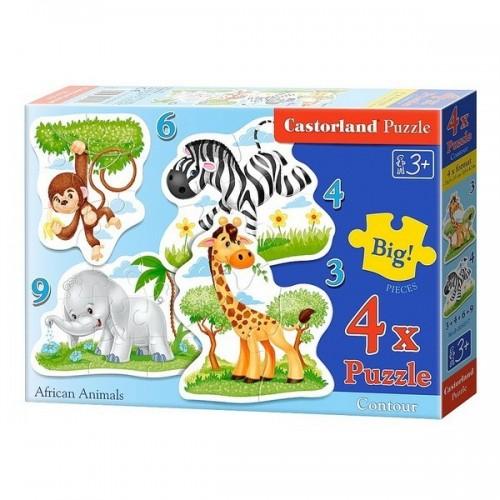 Afrikai állatok, Castorland 4x1 puzzle 3-4-6-9db