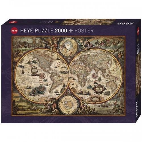 Vintage Világtérkép, Heye puzzle, 2000 db + poszter