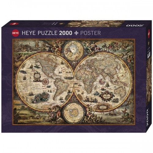 Vintage World Map, Heye puzzle, 2000 pcs + poszter