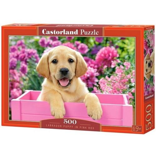 Labrador kölyök a pink ládában, 500 darabos Castorland Puzzle