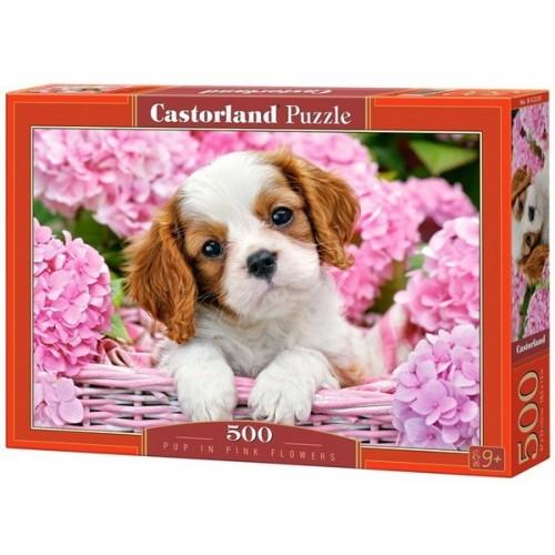 Kutyus a rózsaszín virágok közt, Castorland Puzzle 500 db