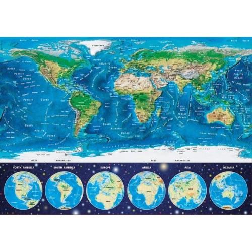World Map, Educa Neon Puzzle 1000 pcs