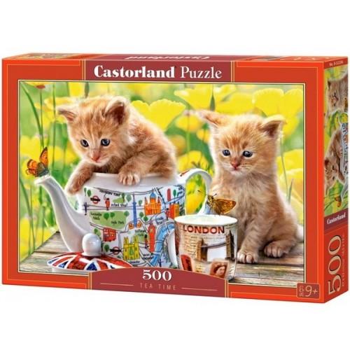 Cicák teaidőben , 500 darabos Castorland puzzle