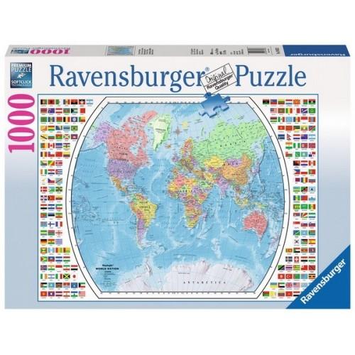 Világtérkép zászlókkal, Ravensburger Puzzle 1000 db