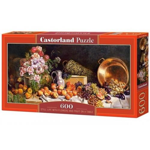 Virág és gyümölcs csendélet, 600 darabos Castorland panoráma puzzle