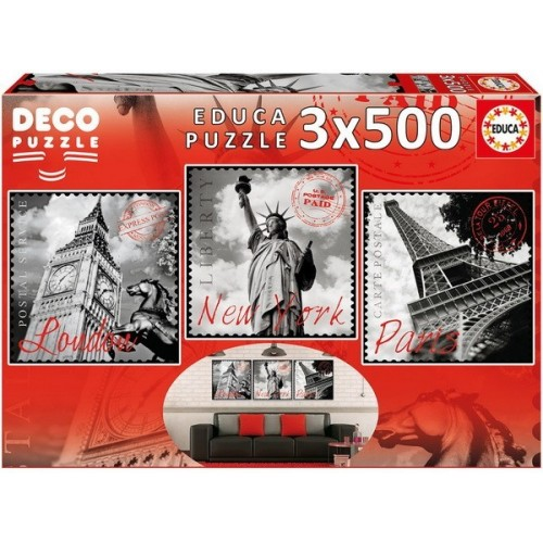 Big Cities, Educa Deco Puzzle 3x500 pcs