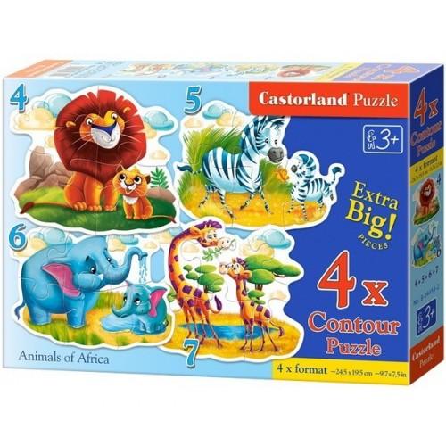 Afrikai vadállatok csemetéjükkel, Castorland 4x1 puzzle 4-5-6-7db