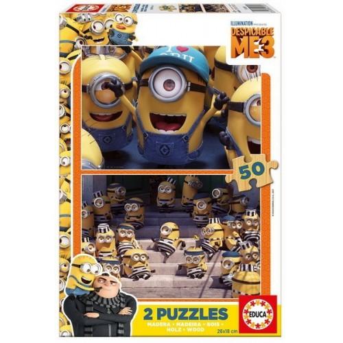 Minions - Gru3, Educa wooden puzzle 2x50 pc