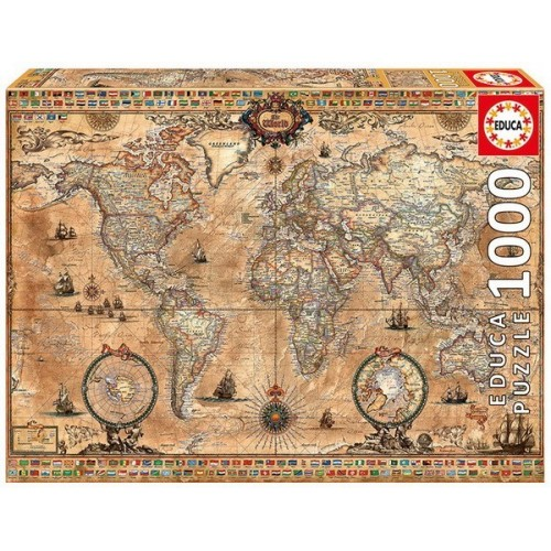 ANTIQUE WORLD MAP, Educa Puzzle 1000 pc