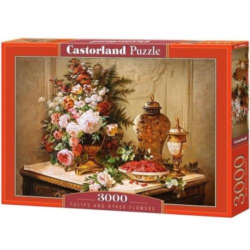Virágcsokor tulipánokkal, 3000 darabos Castorland puzzle
