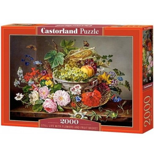 Virágkosár gyümölcsökkel, 2000 darabos Castorland puzzle