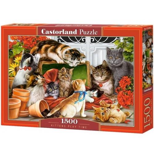 Játszó cicák, 1500 darabos Castorland puzzle