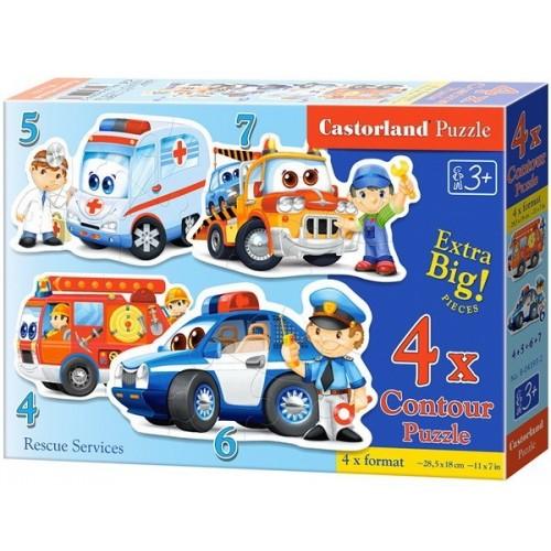 Mentő járművek, Castorland 4x1 puzzle 4-5-6-7db