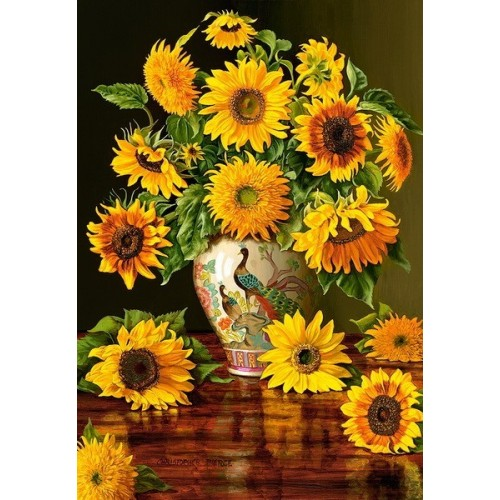 Sunflower in a Peacock Vase, Castorland Puzzle 1000 pc