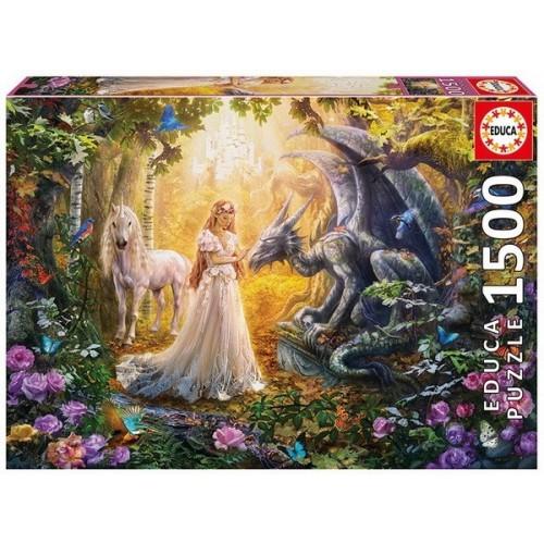 Dragon, princess and unicorn, Educa Puzzle 1500 pc