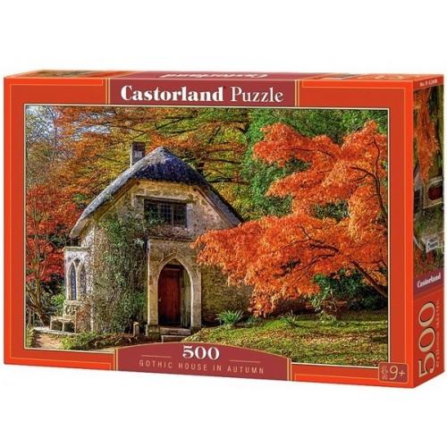Gótikus kerti lak ősszel, 500 darabos Castorland puzzle
