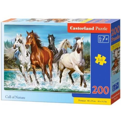 Hív a természet - Vadlovak, 200 darabos Castorland puzzle