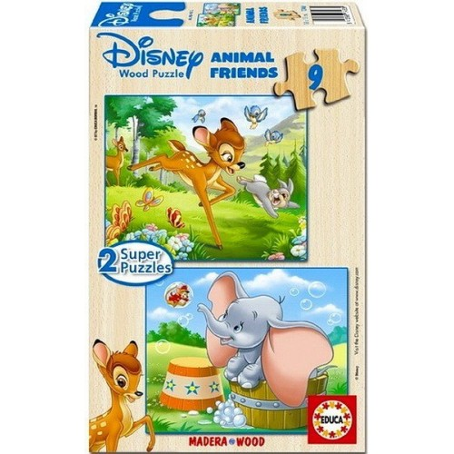 BAMBI AND DUMBO, Educa wooden puzzle 2x9 pc