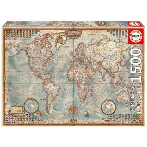 Politikai Világtérkép, Educa térkép puzzle 1500 darabos