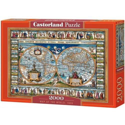 Antik világtérkép - 1639, 2000 darabos Castorland puzzle