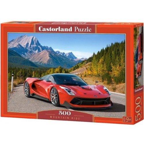 Sportautó a hegyi úton, 500 darabos Castorland puzzle