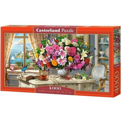 Nyárivirágok és tea, 4000 darabos Castorland Puzzle