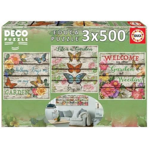 Virágoskert hangulat, Educa 3x500 darabos Deco Puzzle