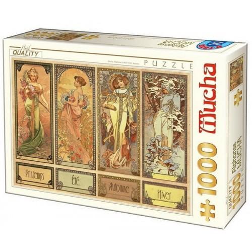 Évszakok - Alfons Mucha, 1000 darabos D-Toys puzzle