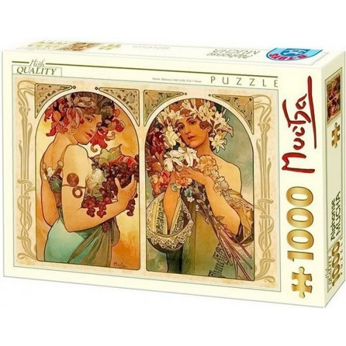 Gyümölcs és Virág - Alfons Mucha, D-Toys puzzle 1000 db