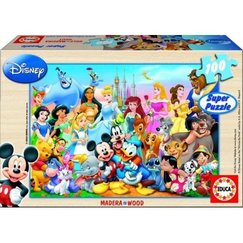 THE WONDERFUL WORLD OF DISNEY, Educa wooden puzzle 100 pc