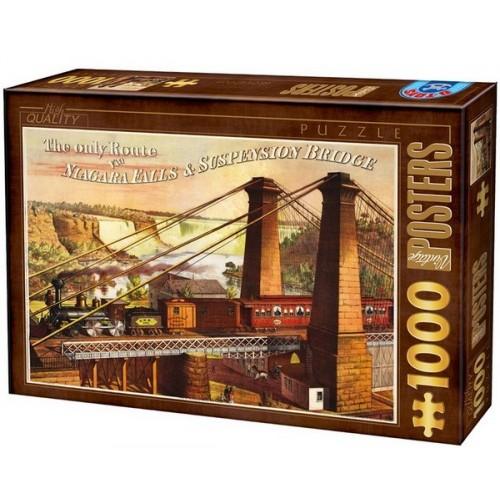 Régi plakátok - The only Route Via Niagara Falls, 1000 darabos D-Toys puzzle