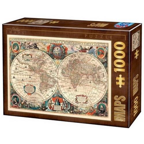 Antik világtérkép - 1641, 1000 darabos D-Toys puzzle
