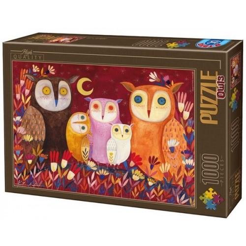 Owls 1 - Kürti Andrea, D-Toys puzzle 1000 pc