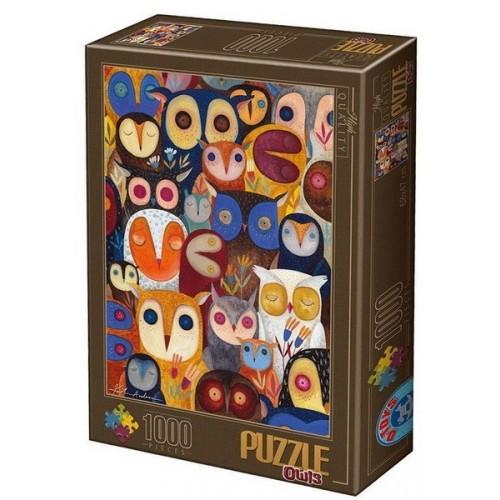 Owls 2 - Kürti Andrea, D-Toys puzzle 1000 pc