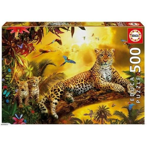 Leopard and His Cubs, Educa Puzzle 500 pcs