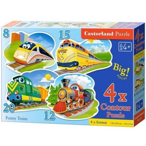 Vonatok, Castorland 4x1 kontúr puzzle, 8-12-15-20 db
