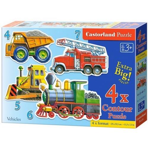 Járművek, Castorland 4x1 kontúr puzzle 4-5-6-7 db
