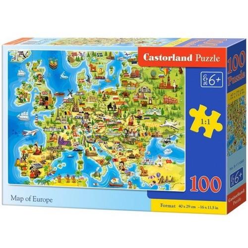 Európa térkép gyerekeknek, 100 darabos Castorland puzzle
